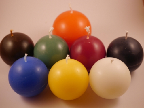 Balls of coloured wax candles